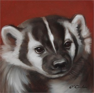 Badger On Red (1/25), 2018