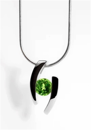 Pendant-Floating Peridot and Sterling silver
