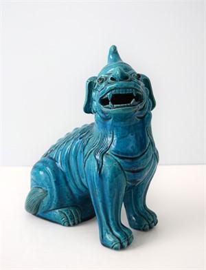 TURQUOISE-GLAZED SEATED DOG, Chinese, 19th century
