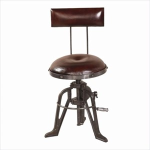 Chair - Adjustable Brown Leather & Distressed Metal