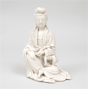 DEHUA PORCELAIN FIGURE OF GUANYIN, Chinese, possibly 19th century