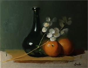 Oranges with Green Vase