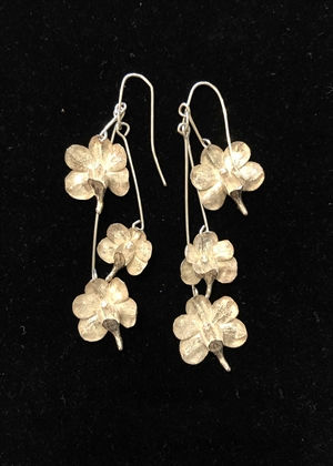 Triple Dangle Sterling Silver Cast Orchid Earrings