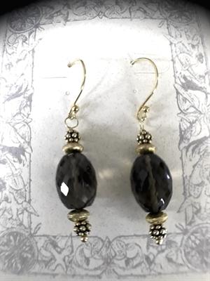 Earrings - Smokey Quartz & Gold Vermeil  #8665, 2020