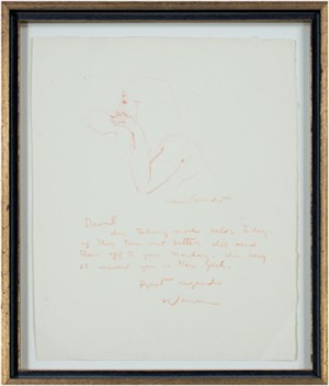Model Resting, signed twice (Drawing with letter to DJB), 1978