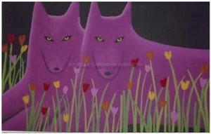 "TWO MAGENTA WOLVES AND WILDFLOWERS - limited edition giclee on canvas 25""x35"""