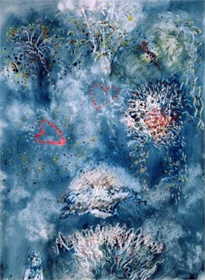 Hearts & Flowering Fireworks Beaver Lake from original watercolor 1996, 2003