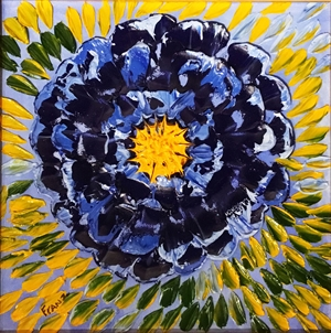 Large Blue Flower Impasto Oil Painting