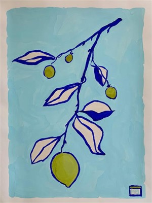 Pink Lemons on Aqua, 2019