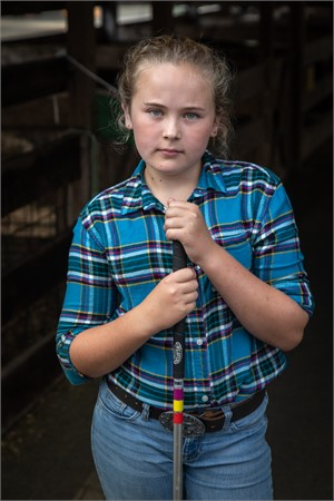 Girl with Stock Prod, Cummington Fair (1/3), 2018
