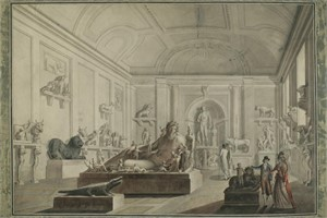 SET OF FOUR DRAWINGS IN THE MANNER OF DUCROS-VIEWS OF THE VATICAN MUSEUM , Italian, circa 1800