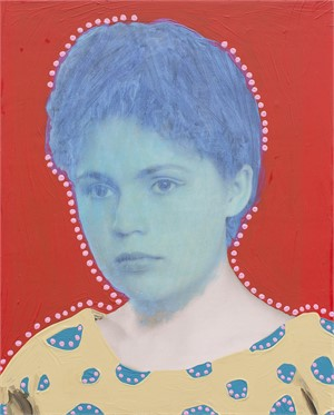 Untitled (Woman with Metallic Teal and Dots)