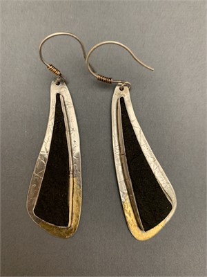 Earring - Sterling Silver accented with Gold Keumbu, Absolute Black Verde - Arizona  AS038, 2019