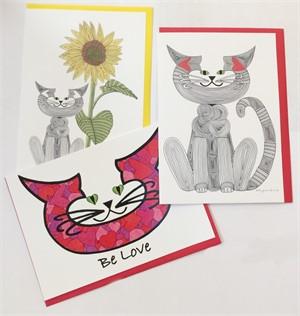 Assorted Cat Art Cards, 2019