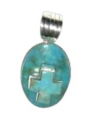 Pendant - Sterling Silver & Turquoise Cross
