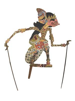 Puppet (flat), round eyes, pink face Wayang Klitik, 19th C