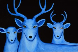 "NIGHT SKY/THREE BLUE DEER - limited edition giclee on canvas (large) 40""x60"" $3500 or (medium) 27""x40"" $2200 or on paper w/frame size of: (large) 40""x60"" $3700 or (medium) 27""x40"" $2200"