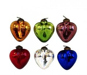"Ornament - 3"" Crackled Hearts Asst. Colors"