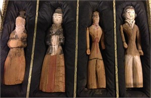 SET OF FOUR POLYCHROME WOOD FIGURES, Han Dynasty (206-220)