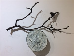 Bird on a Branch with Round Pod