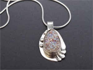 "Pendant - Druzy set in sterling silver with 24"" sterling silver snake chain  AS 025, 2018"