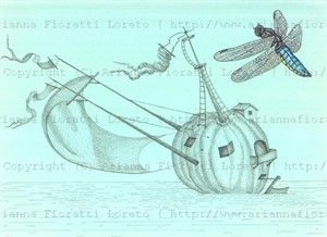 Pumpkin Sailboat with Dragonfly, 2012