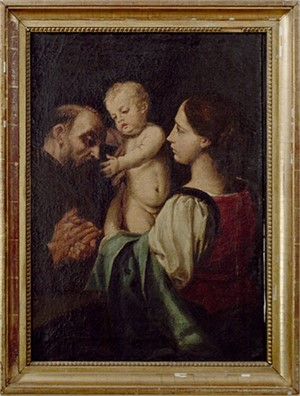 The Madonna and Child with Saint Francis After a Painting attributed to Simone Cantarini (Italian 1612-1648), c.1700