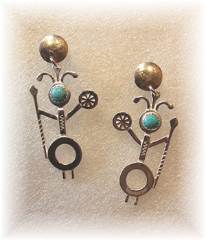 Sterling Silver Spirit Chaser w/Turquoise Earrings, 2018