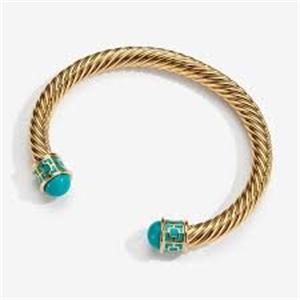 Maya-Aquamarine-Gold-Torque Bracelet