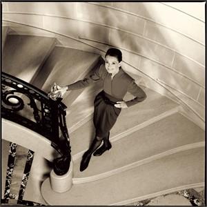 89003 Audrey Hepburn Smiling in Stairway Sepia, 1989
