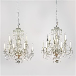 PAIR OF LATE GEORGIAN CUT GLASS CHANDELIERS, English/Irish, early 19th century