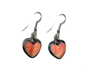 "Earring - 1.5"" spiny oyster heart dangle"