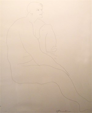 Male Nude Seated with Raised Knee, c. 1960