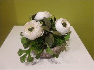 Classic Cool - white ranunculus, grass tufts and sage in a hypertufa bowl  #8029, 2019