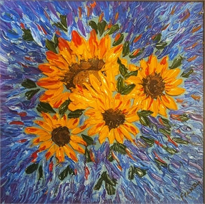 Sunflower Impasto Oil Painting, 2018
