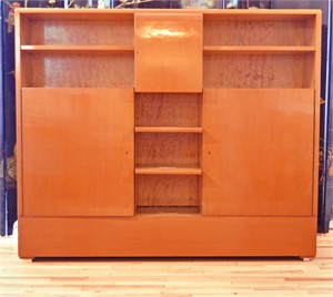 A LACQUERED WOOD AND SATINWOOD BOOKCASE