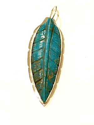 Pendant - Large Turquoise Feather, 2019