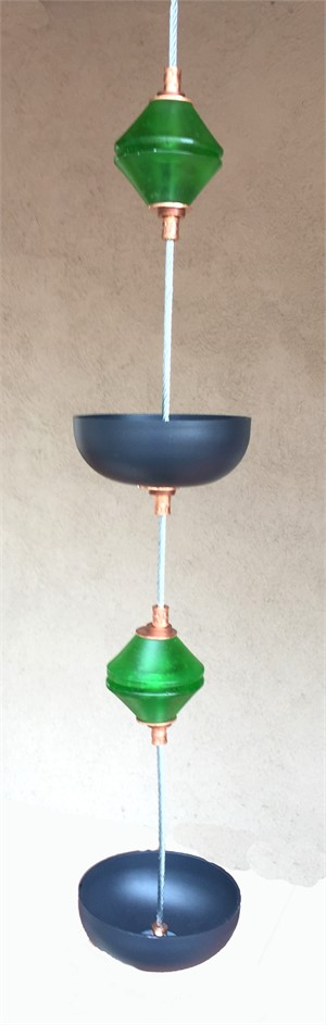 Hanging Bird Feeder/Planter - Bottle Green Double Cast Glass