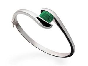 Bracelet - Barrel cut Green Quartz & Sterling Silver