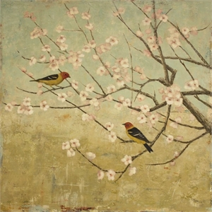 Western Tanagers and Plum Blossoms