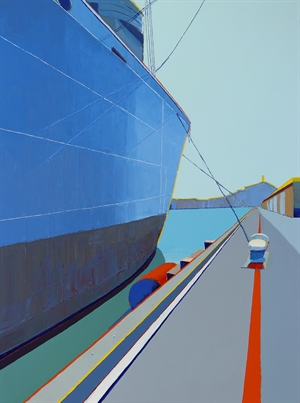 Large Ship Overlooking Wharf, SF by Timothy Mulligan