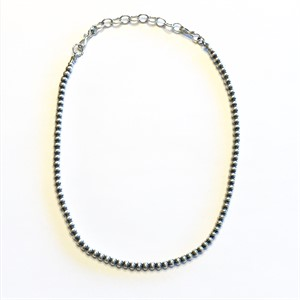 "Necklace - 14""-16"" Adjustable Antiqued Sterling Silver Beads 5mm"