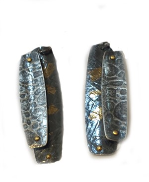 Earrings - Stainless Paper Fold Post w/ 24kt gold Keum Boo #9, 2019