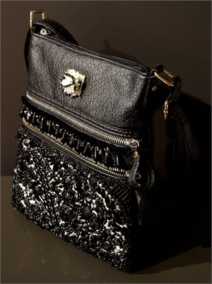 Black Bag with Black Stone Beading and White Shells