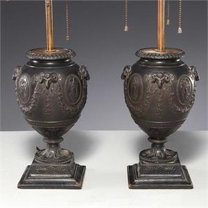 PAIR OF WEDGWOOD BASALT URN LAMPS , English, 19th century