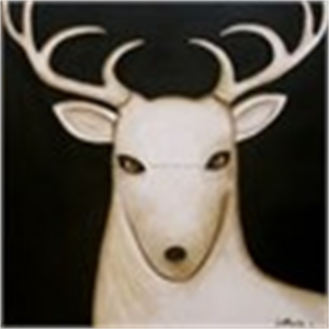 Night Sky/Single White Deer - MEDIUM Canvas $2200 (11/100)