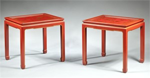 A PAIR OF SMALL RED LACQUER TABLES