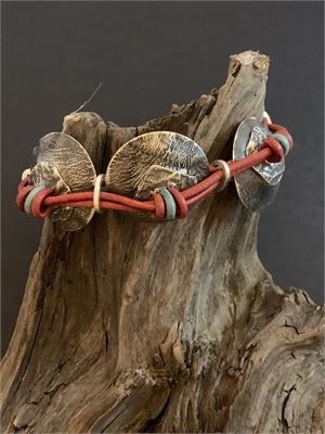 Bracelet - Sterling Silver, Knotted Leather With Magnetic Clasp AS 057, 2019