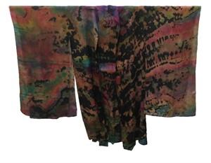 Kimono - Multi Fushia Reverse Shibori Silk Georgette #97