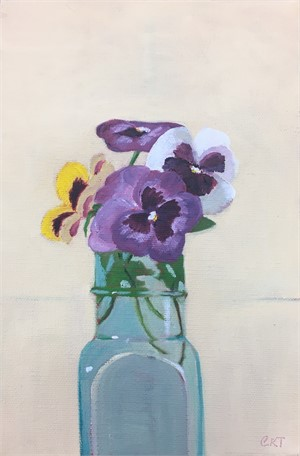 Pansies in Antique Bottle
